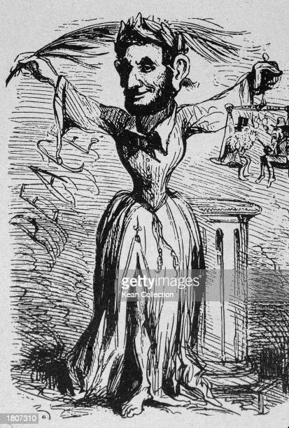 Editorial cartoon by Thomas Nast of Abraham Lincoln wearing a dress and welcoming North and South to his inauguration 1861