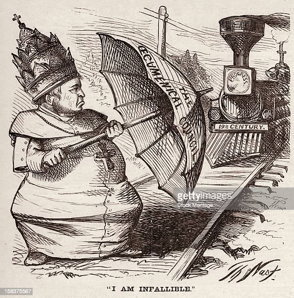 Editorial cartoon depicts a defiant Pope Pius IX as he stands on railroad tracks and attempts to block a train labelled 'Progress 19th Century' with...