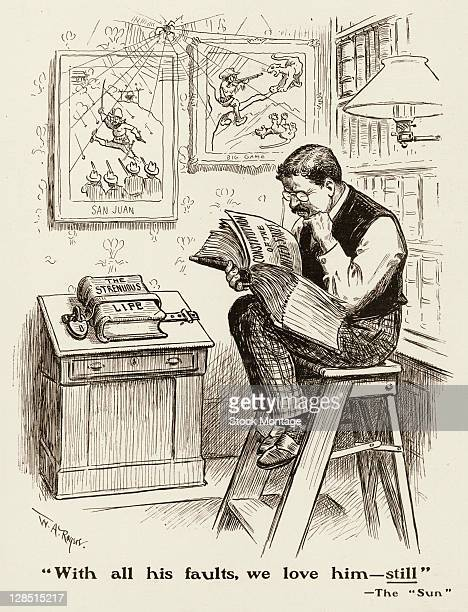 Editorial cartoon depicts American President Theodore Roosevelt as he studies a book open to a page labeled 'Constitution of the United States'...