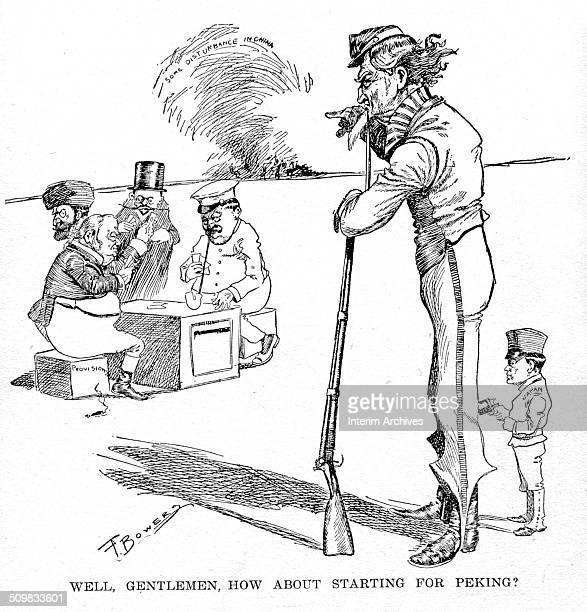 Editorial cartoon depicts an armed Uncle Sam the personification of the United States who leans on a rifle and waits for European countries Russia...