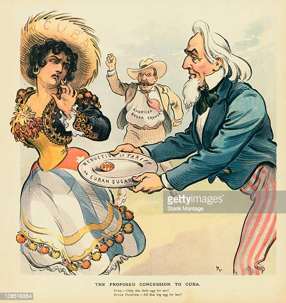 Editorial cartoon entitled 'The Proposed Concession to Cuba' depicts a woman recoiling from Uncle Sam who offers her an egg labeled 20% from a plate...
