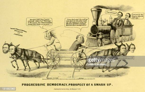 Editorial cartoon titled 'Progressive Democracy Prospect of a Smash Up' showing the Republican candidates Abraham Lincoln and Hannibal Hamlin riding...