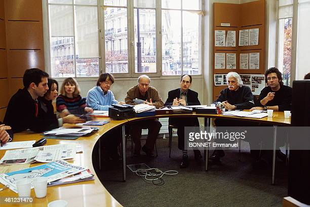 editorial conference at the satirical magazine Charlie Hebdo for his 35th anniversary from left to right Jul Sigolene Vinson Luce Lapin CABU Georges...