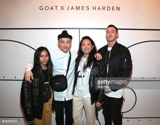 Editorial Content Manager Diane Abapo and GOAT Social Media Manager Adam Cannella pose with guests during GOAT and James Harden Celebrate NBA AllStar...