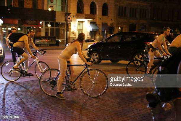 Editorial - Cyclist on the street during the World Naked Bike Ride