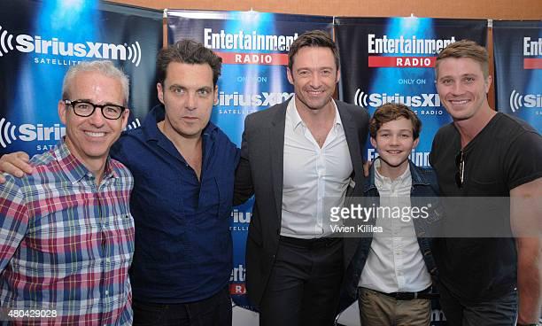 Editorial director of EW Jess Cagle director Joe Wright and actors Hugh Jackman Levi Miller and Garrett Hedlund attend SiriusXM's Entertainment...