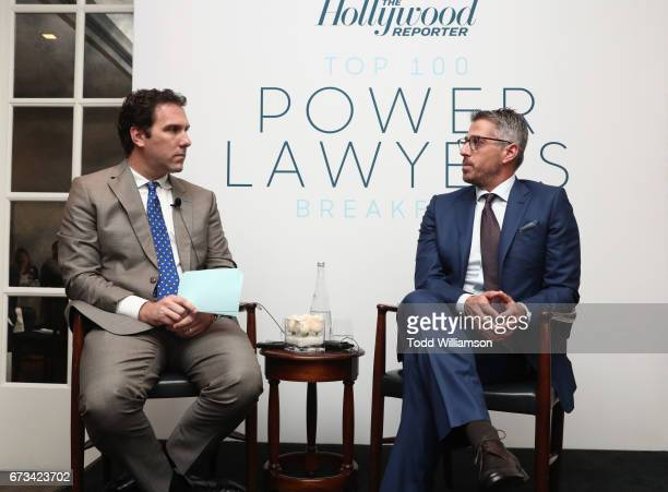 Editorial Director of The Hollywood Reporter Matt Belloni and Casey Wasserman speak onstage at The Hollywood Reporter Power Lawyers Breakfast 2017 at...