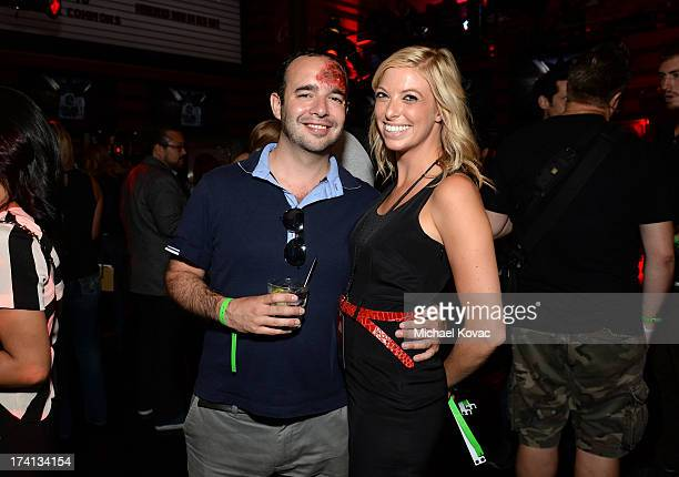 Editorial employee Chris Tilly and Sony Pictures publicist Maureen Shanahan attends Sony Pictures Home Entertainment and Evil Dead Bluray Fan Party...