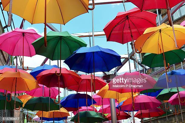 editorial image - umbrellas, london, uk - installation art stock pictures, royalty-free photos & images