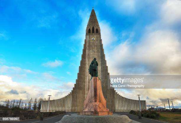 Editorial - Leif Erikson statue in front of Hallgrimskirkja Church in Reykjavik