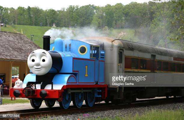 editorial only - thomas the tank engine, cuyahoga valley national park, boston township, ohio, usa - cuyahoga river stock photos and pictures