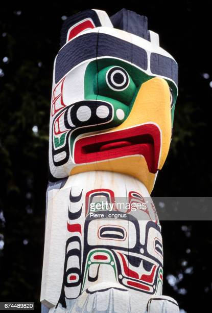 Editorial Use - Detail of Thunderbird House Post by First Nations Canadian artist Tony Hunt, in Stanley Park, Vancouver, British Columbia, Canada