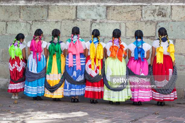 editorial use only - colourful wedding dancers in oaxaca - free up skirt pics stock photos and pictures