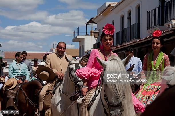 CONTENT] Editorial Use Only Pilgrims of the Brotherhood of Rocio from Moguer accompanying their Brotherhood for presentation at the Shrine of the...