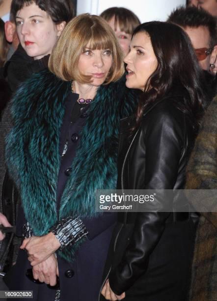 EditorIn Chief American Vogue magazine Anna Wintour and Edun cofounder Ali Hewson attend the Edun presentation during Fall 2013 MercedesBenz Fashion...