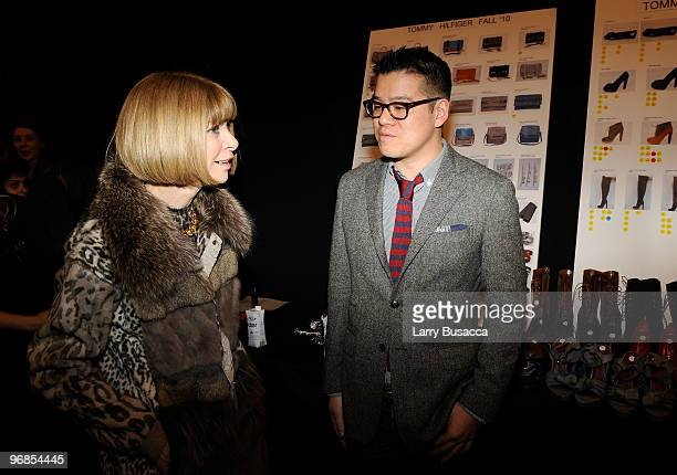 EditorinChief Anna Wintour and designer Peter Som backstage at the Tommy Hilfiger Fall 2010 Fashion Show during MercedesBenz Fashion Week at Bryant...