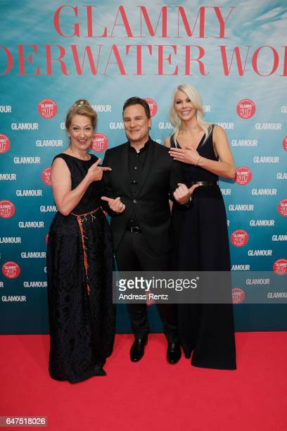 Editor-in-chief GLAMOUR Andrea Ketterer, Guido Maria Kretschmer and Stefanie Neureuter attend the Glammy Award 2017 on March 2, 2017 in Munich,...