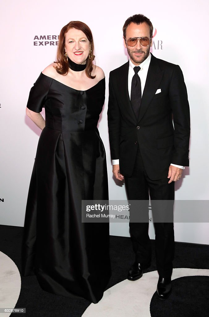 Editor-in-chief, Harper's Bazaar, Glenda Bailey (L) and Tom Ford attend Harper's BAZAAR celebration of the 150 Most Fashionable Women presented by TUMI in partnership with American Express, La Perla and Hearts On Fire at Sunset Tower Hotel on January 27, 2017 in West Hollywood, California.