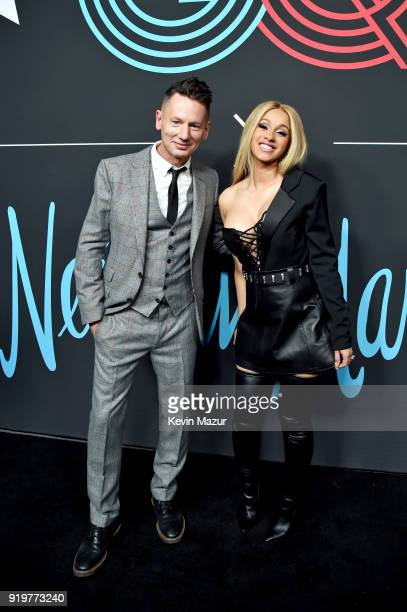 EditorInChief Jim Nelson and Cardi B attend GQ's 2018 AllStars Celebration at Nomad Hotel Los Angeles on February 17 2018 in Los Angeles California