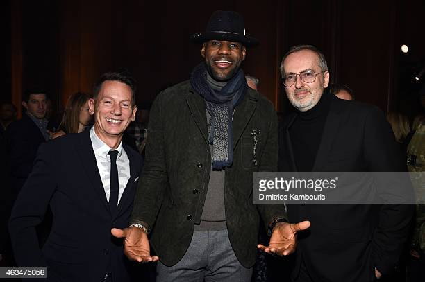GQ EditorinChief Jim Nelson basketball player LeBron James and GQ Creative Director Jim Moore attend GQ and LeBron James Celebrate AllStar Style on...