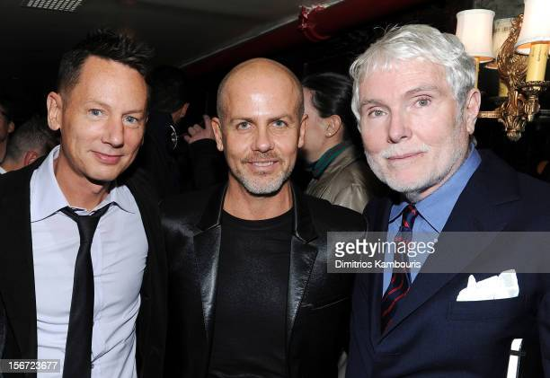 GQ EditorinChief Jim Nelson fashion designer Italo Zucchelli and GQ's Style Guy Glenn O'Brien attend GQ's The Style Guy party at The Beatrice Inn on...