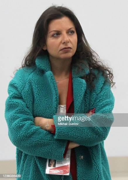 Editor-in-Chief Margarita Simonyan seen during the Valdai Discussion Club's plenary meeting, on October 2021, in Sochi, Russia. Vladimir Putin took...
