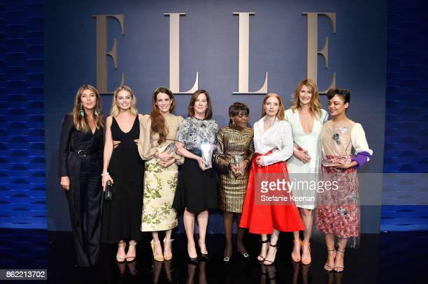 ELLE EditorinChief Nina Garcia and honorees Margot Robbie Riley Keough Kathleen Kennedy Cicely Tyson Jessica Chastain Laura Dern and Tessa Thompson...