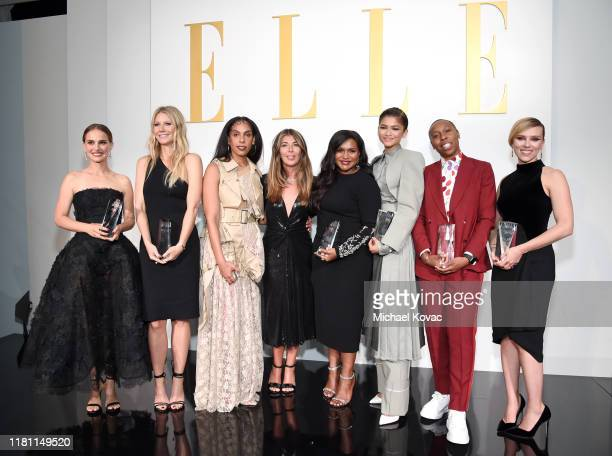 EditorinChief Nina Garcia poses with honorees Natalie Portman Gwyneth Paltrow Melina Matsoukas Mindy Kaling Zendaya Lena Waithe and Scarlett...