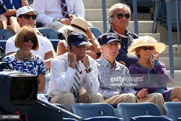 Editorinchief of American Vogue Anna Wintour Actor Gene Wilder watch Novak Djokovic of Serbia play against Kei Nishikori of Japan during their men's...