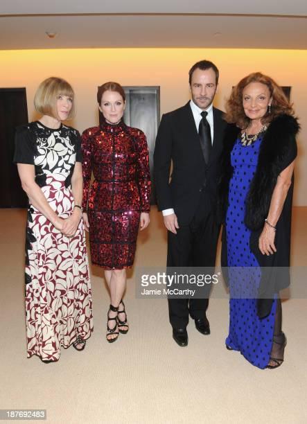 Editorinchief of American Vogue Anna Wintour actress Julianne Moore designer Tom Ford and designer Diane von Furstenberg attend CFDA and Vogue 2013...