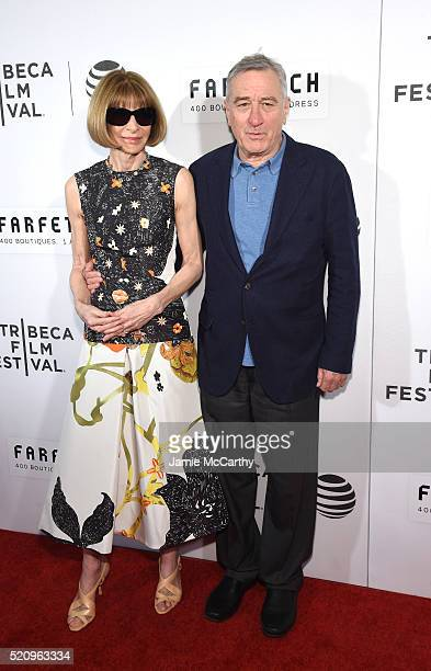 Editorinchief of American Vogue Anna Wintour and Actor Robert De Niro at The First Monday In May World Premiere 2016 Tribeca Film Festival Opening...