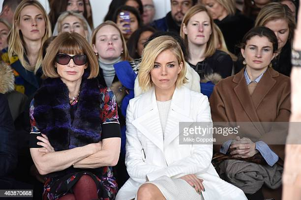 EditorinChief of American Vogue Anna Wintour and actress Sienna Miller attend the Calvin Klein Collection fashion show during MercedesBenz Fashion...
