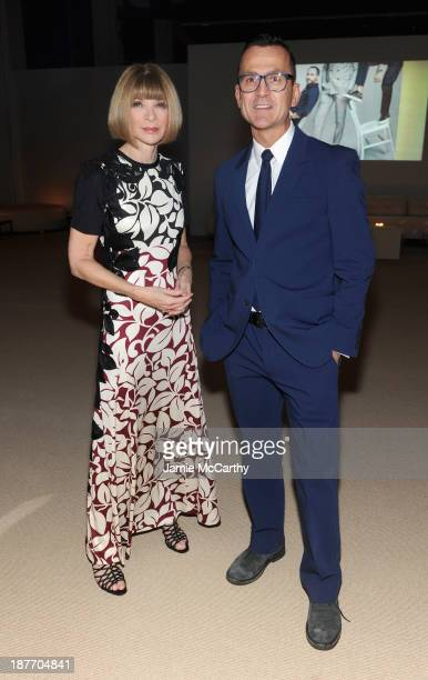 Editorinchief of American Vogue Anna Wintour and CFDA CEO Steven Kolb attend CFDA and Vogue 2013 Fashion Fund Finalists Celebration at Spring Studios...
