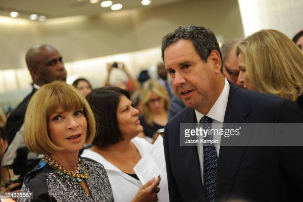 Editorinchief of American Vogue Anna Wintour and Chief Executive Officer of SAKS Fifth Avenus Stephen Sadov attend Fashion's Night Out at SAKS Fifth...