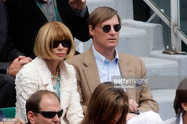 Editorinchief of American Vogue Anna Wintour and communications executive Shelby Bryan attend the French Open at Stade Roland Garros on June 7 2009...