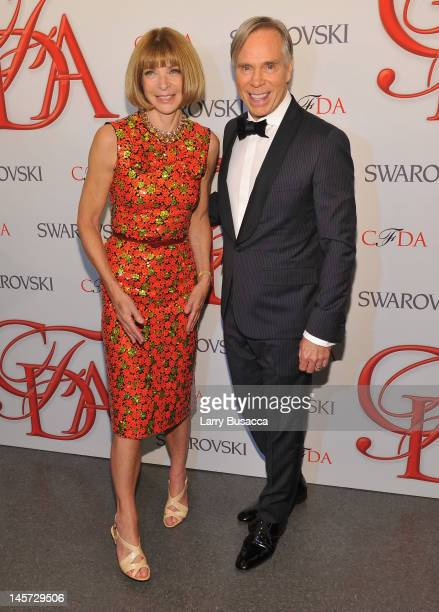 Editorinchief of American Vogue Anna Wintour and designer Tommy Hilfiger attends the 2012 CFDA Fashion Awards at Alice Tully Hall on June 4 2012 in...