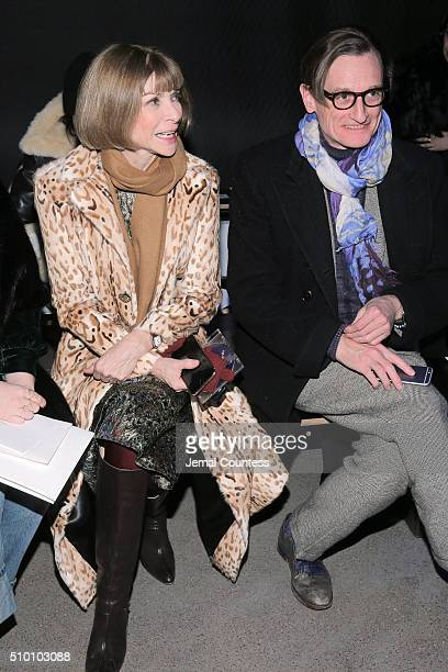 Editorinchief of American Vogue Anna Wintour and Editoratlarge of American Vogue Hamish Bowles attend the Altuzarra Fall 2016 fashion show during New...