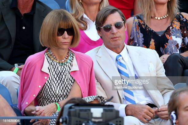 Editor-in-chief of American Vogue Anna Wintour and Shelby Bryan watch the men's singles semifinal match between Novak Djokovic of Serbia and David...