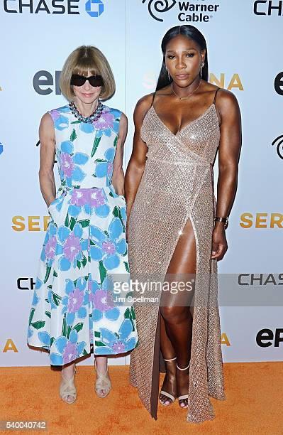 Editorinchief of American Vogue Anna Wintour and tennis player Serena Williams attend the premiere of EPIX original documentary Serena at SVA Theatre...