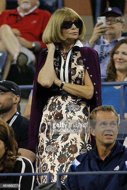 Editorinchief of American Vogue Anna Wintour attends the 2014 US Open Men's Singles Quarterfinals match between Roger Federer of Switzerland and Gael...