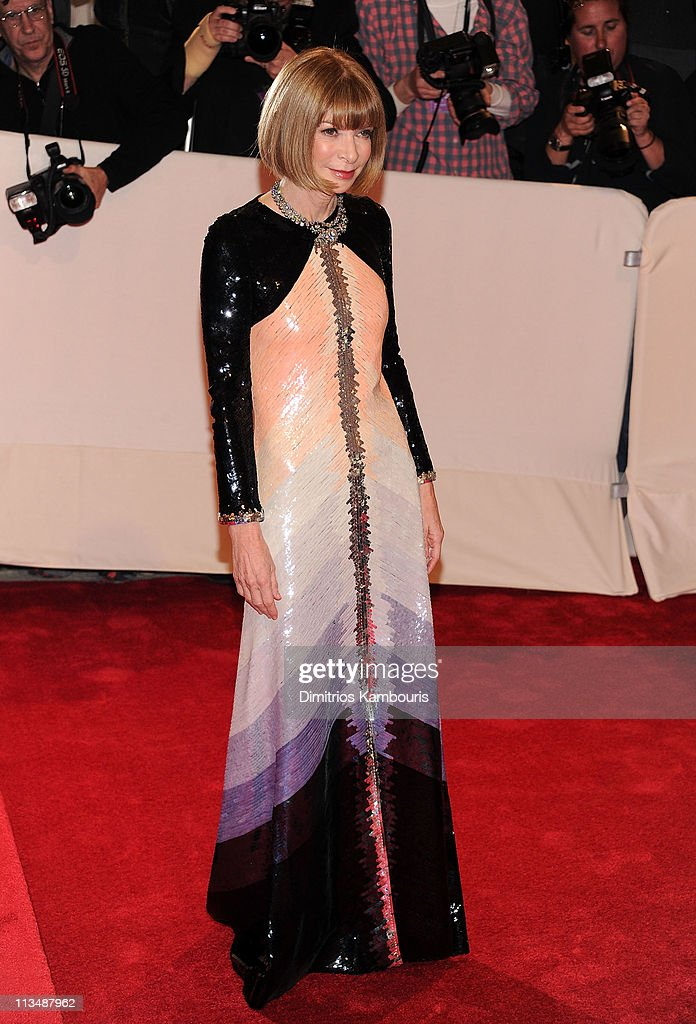 Editor-in-Chief of American Vogue Anna Wintour attends the 'Alexander McQueen: Savage Beauty' Costume Institute Gala at The Metropolitan Museum of Art on May 2, 2011 in New York City.