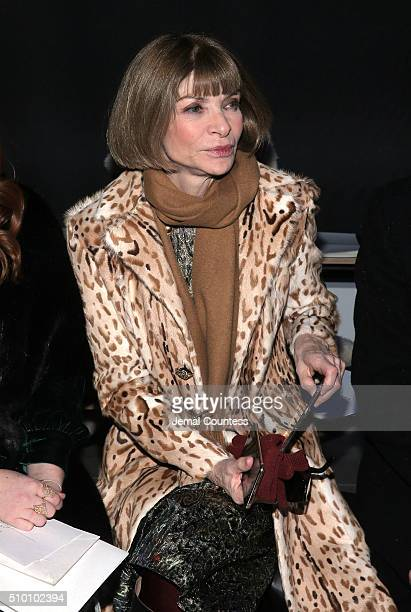 Editorinchief of American Vogue Anna Wintour attends the Altuzarra Fall 2016 fashion show during New York Fashion Week at Spring Studios on February...