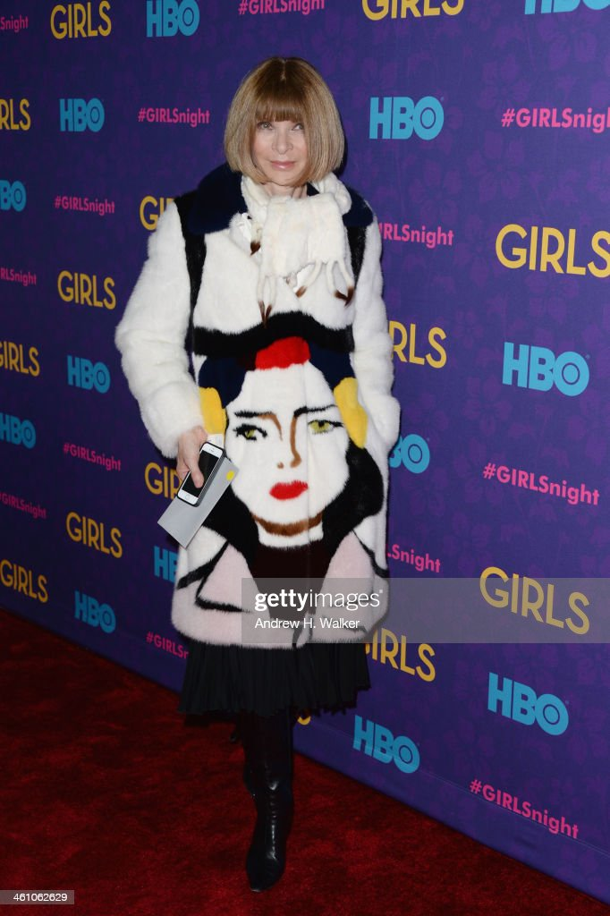 Editor-in-chief of American Vogue Anna Wintour attends the 'Girls' season three premiere at Jazz at Lincoln Center on January 6, 2014 in New York City.