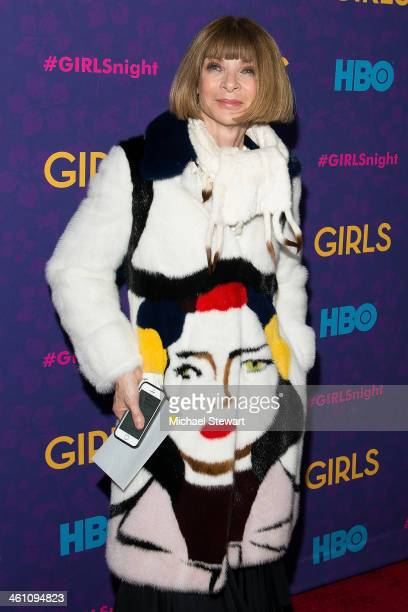 Editorinchief of American Vogue Anna Wintour attends the Girls season three premiere at Jazz at Lincoln Center on January 6 2014 in New York City