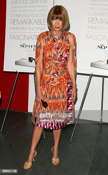 Editorinchief of American Vogue Anna Wintour attends the New York special screening of The September Issue at The Museum of Modern Art on August 19...