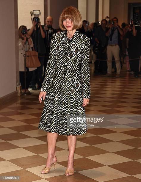 Editorinchief of American Vogue Anna Wintour attends the Schiaparelli And Prada Impossible Conversations Costume Institute Exhibition Press Preview...