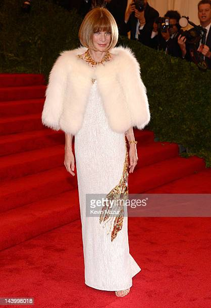 EditorInChief of American Vogue Anna Wintour attends the Schiaparelli And Prada Impossible Conversations Costume Institute Gala at the Metropolitan...