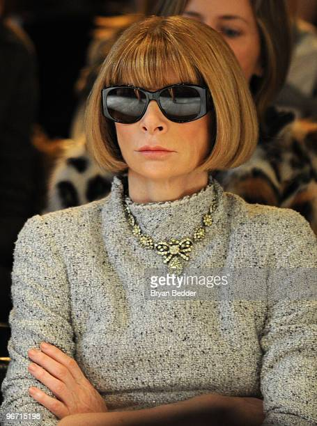 Editorinchief of American Vogue Anna Wintour attends the Zac Posen Fall 2010 Fashion Show during MercedesBenz Fashion Week at the Altman Building on...