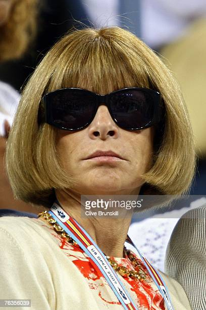 Editorinchief of American Vogue Anna Wintour looks on during the opening ceremonies for the US Open at the Billie Jean King National Tennis Center on...