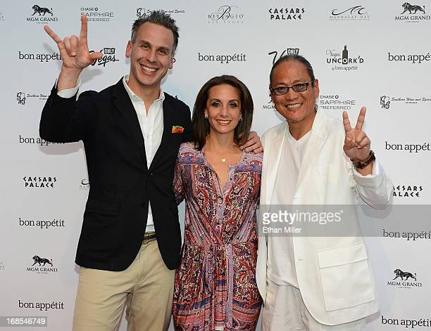 EditorinChief of Bon Appetit magazine Adam Rapoport Vice President and Publisher of Bon Appetit magazine Pamela Drucker Mann and chef Masaharu...